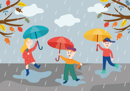 Cheerful children playing under umbrella in rainy weather outdoors in autumn park or garden holding colorful tree leaves in flat style - vector illustration of seasonal scene with happy kids.