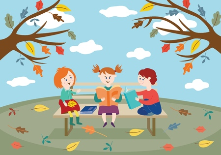 Cheerful children friends sitting on bench in autumn park or garden with colorful tree leaves and reading books in flat style - vector seasonal illustration of cute smiling kids.