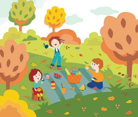 Children friends at picnic outdoors in autumn park or garden with colorful tree leaves in flat style - vector illustration of fall scene with happy kids eating and having fun outside in forest.