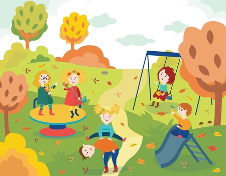 Cheerful children playing outdoors in autumn park and swinging surrounded by colorful tree leaves in flat style - vector illustration of fall garden with happy laughing active kids.