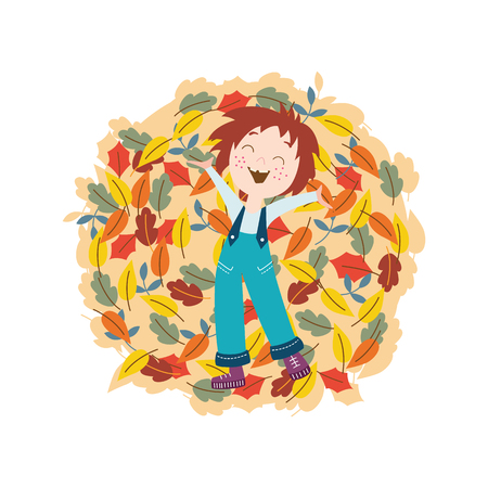 Cute smiling kid with autumn colorful tree leaves in flat style isolated on white background - vector illustration of happy child laying on pile of fallen foliage outside. Illustration