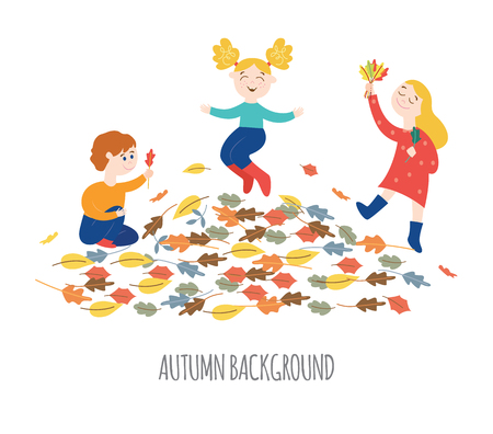 Cute happy children playing outdoors and gathering colorful tree leaves in autumn in flat style isolated on white background - vector illustration of seasonal design element with laughing active kids. Vettoriali