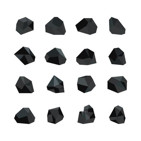 Illustrazione vettoriale di vari pezzi di carbone nero isolati su sfondo bianco - raccolta di risorse minerarie. Icone di pezzi tagliati di carbone di grafite di roccia in stile piatto. Vettoriali