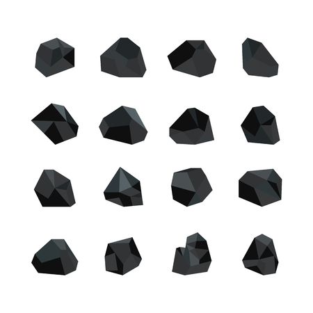 Vector illustration set of various black coal pieces isolated on white background - collection of mineral resources. Icons of cut bits of rock graphite charcoal in flat style. Ilustração