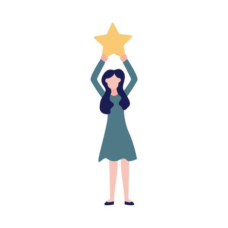 La donna fa una revisione della qualità del servizio alzando il segno zodiacale. Concetto di valutazione di feedback del consumatore o di affari dell'illustrazione di vettore di soddisfazione isolata su bianco.