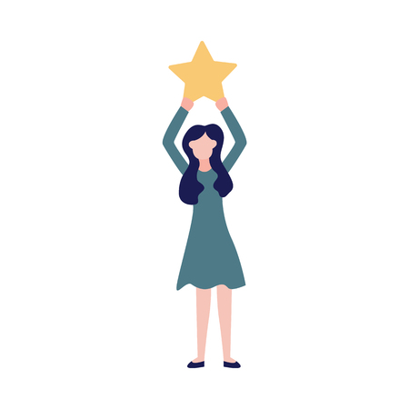 Woman makes a review of the quality of service raising the star sign. Concept of consumer or business feedback rating of satisfaction vector illustration isolated on white.