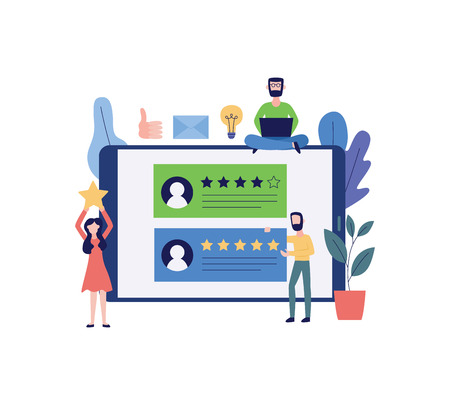 Concept of five stars rating style feedback consumer or customer review evaluation. Users satisfaction level banner flat vector illustration isolated oh white.