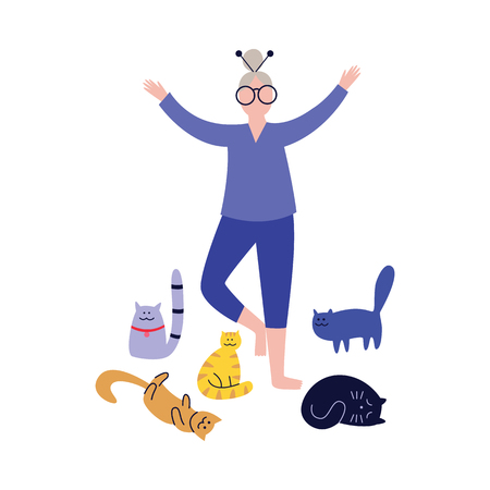 Old gray-haired woman practices yoga with her cats. Cute grandmother leads a healthy lifestyle accompanied by pets flat vector illustration isolated on white.