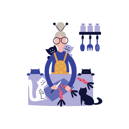 Senior woman preparing healthy food from fresh vegetables in kitchen accompanied by cats. Old woman coockink flat vector illustration isolated on white.
