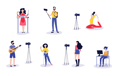 Vector illustration set of bloggers recording video with camera or mobile phone - various people making online streaming or leading webinar in flat style isolated on white background.