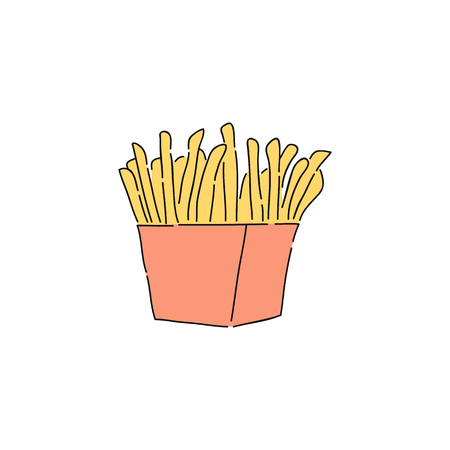 French fries in red carton, drawing of fast food fried potato in sketch style. Unhealthy fattening meal or snack hand drawn as isolated vector icon illustration on white background.