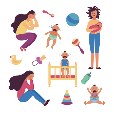 Set of depressed tired women and crying babies and toys flat cartoon style, vector illustration isolated on white background. Female postnatal or postpartum depression, child care items