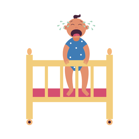 Crying baby stands holding side of cot flat cartoon style, vector illustration isolated on white background. Little cute child in the crib screaming and shedding teardrops Иллюстрация