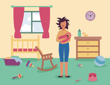Tired woman stands in messy room holding crying baby flat cartoon style, vector illustration on interior background. Mother in postnatal depression indoor with scattered care items and toys