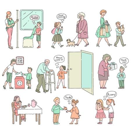 Vector ragazzi ben educati, ragazze con buone maniere, set di cortesia. I giovani aiutano gli adulti, esprimono buone maniere. Decenza e urbanità del concetto di bambini.