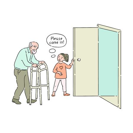 Vector niña de buen comportamiento abriendo la puerta al anciano diciendo por favor pase. Buenos modales, cortesía del niño varón. Decenidad y urbanidad del concepto de niños.