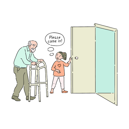 Vettore ragazza ben educata che apre la porta all'uomo anziano dicendo per favore entra. Buone maniere, gentilezza del ragazzo maschio. Decenza e urbanità del concetto di bambini.