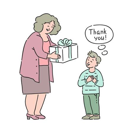 Vector il ragazzo ben educato che dice grazie alla donna anziana che gli dà la scatola regalo. Buone maniere, gentilezza del ragazzo maschio. Decenza e urbanità del concetto di bambini.