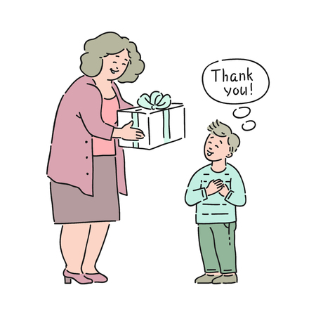 Vector well-behaved boy saying thank you to elderly woman giving present box to him. Good manners, politeness of male kid. Decenity and urbanity of children concept.
