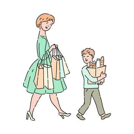 Vector well-behaved boy helps mother carrying bags with food and purchases. Good manners, politeness of male kid. Decenity and urbanity of children concept.