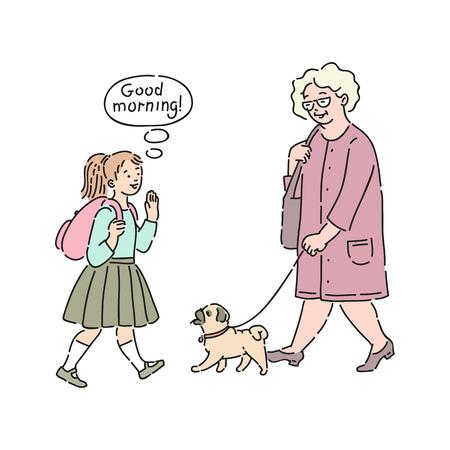Vector gut erzogenes Mädchen, das der älteren Frau, die mit einem Hund spazieren geht, guten Morgen sagt. Gute Manieren, Höflichkeit des weiblichen Kindes. Anstand und Urbanität des Kinderkonzepts.