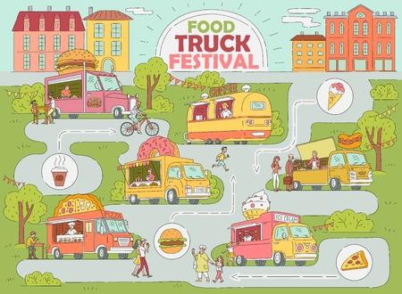 Carte de la ville du festival des camions de nourriture - marché de restauration rapide avec camion de crème glacée, beignet et café, fourgon à pizza, stand de hot-dog avec les clients, illustration vectorielle d'infographie de style dessin animé dessiné à la main Vecteurs