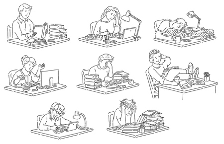Students sitting at table reading and studying in hand drawn outline style - isolated vector illustration set of various stressed and happy pupils making homework or preparing for exams.