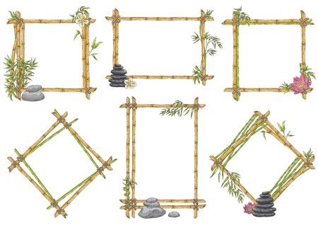 Vector bamboo frame with balance zen pebble stones, green leavesm plumeria, lotus flowers set. Traditional chinese, eastern decoration. Sketch wooden sicks binded by rope. Asian design background Illustration