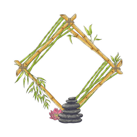 Wooden rhombic bamboo frame with pile of pebbles and flower sketch style, vector illustration isolated on white background. Natural rhomb-shaped border template with stones and lotus