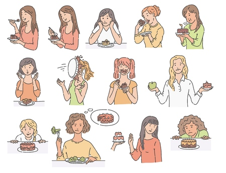 Set of female characters with dessert cake sketch style, vector illustration isolated on white background. Women with various emotions about eating unhealthy food in different situations Vektoros illusztráció