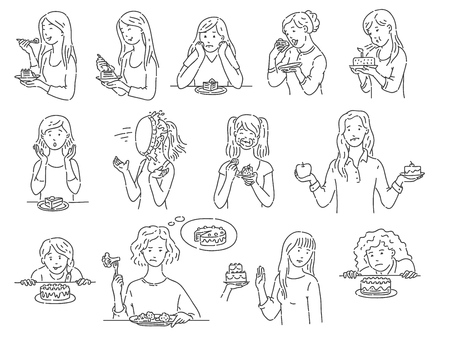 Set of female characters with dessert cake outline sketch style, vector illustration isolated on white background. Women with various emotions eating unhealthy food in different situations