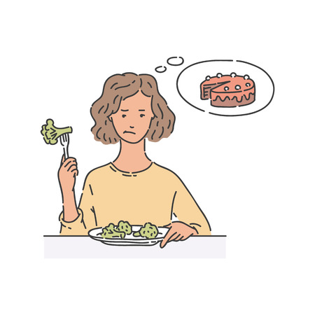 Sad woman sits at table eating broccoli and thinking about cake sketch style, vector illustration isolated on white background. Female doesnt want to eat diet food dreaming about dessert