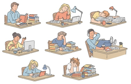 Vector illustration set of various students sitting at table reading and studying in hand drawn style - stressed and happy pupils making homework or preparing for exams isolated on white background. Stock Illustratie