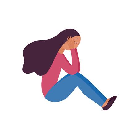 Femme assise avec ses jambes repliées et tenant sa tête style cartoon plat, illustration vectorielle isolée sur fond blanc. Une fille déprimée se couvre les oreilles ou souffre de maux de tête