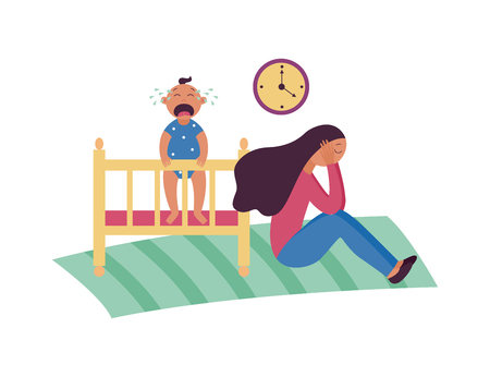 Depressed woman sits on floor while baby is crying in cot flat cartoon style, vector illustration isolated on white background. Sad female with postnatal or postpartum depression