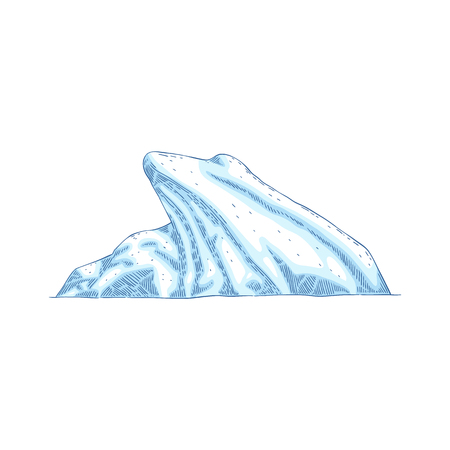 Blue iceberg vector icon isolated on white background in cartoon or sketch modern style. Arctic polar winter gravure symbol or emblem design concept.
