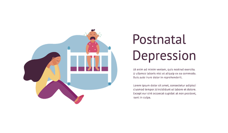 Postnatal depression flyer design with tired woman and baby flat cartoon style, vector illustration isolated on white background. Template with female sits on floor while child is crying and text