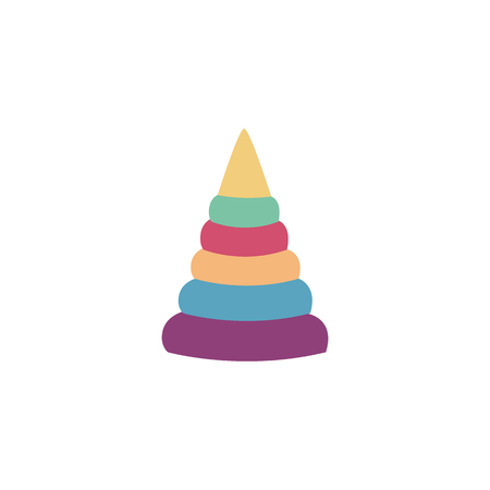 Learning color block pyramid toy for children flat style, vector illustration isolated on white background. Educational play for kids and baby game in stacking up colorful rings