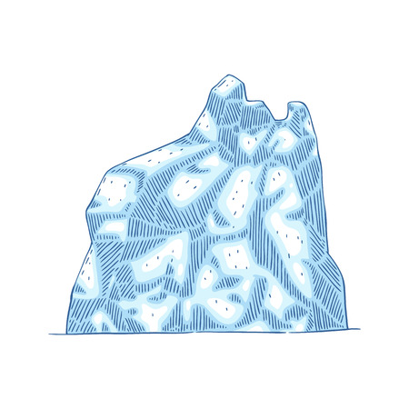 Iceberg mountain vector illustration. Blue Arctic glacier covered in ice and snow in Antarctic, hand drawn flat cartoon sketch isolated on white background. Illustration