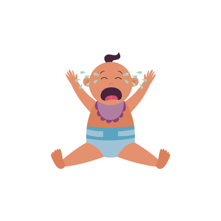Crying baby is sitting in diaper and bib with arms raised up flat cartoon style, vector illustration isolated on white background. Screaming infant or newborn child is shedding teardrops Иллюстрация