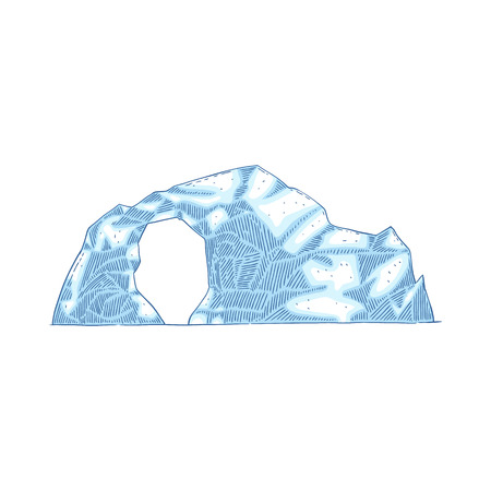 Blue iceberg with hole in the middle, frozen glacier drawing in flat cartoon style, round ice mountain from Antarctic ocean, vector illustration isolated on white background. Illustration