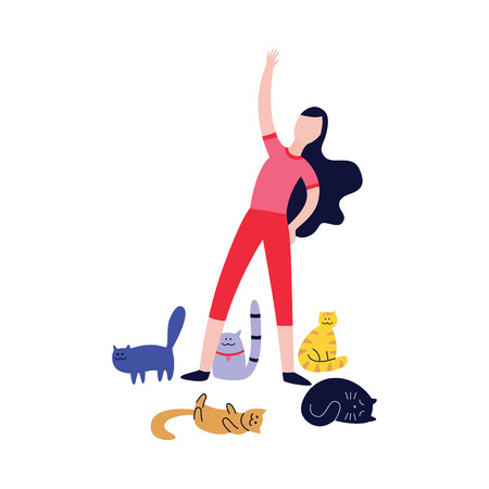 Woman doing exercises surrounded by many cats flat cartoon style, vector illustration isolated on white background. Female practicing gymnastics or yoga with her pet animals Ilustração