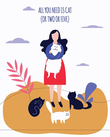 Woman stands outdoor holding kitty surrounded by cats flat cartoon style, vector illustration isolated on white background. Animal themed poster design with girl hugging pet