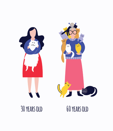 Comparison of standing young and old cat ladies flat cartoon style, vector illustration isolated on white background. Woman in 30 and granny in 60 years old with their pets Foto de archivo - 123466026