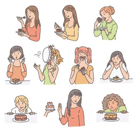 Vector young girls and sweet dessert cake set. Female character happily eat sweets, refuse to do it, surprised by piece of cake, standing with cream on face, struggling not to taste cookie.