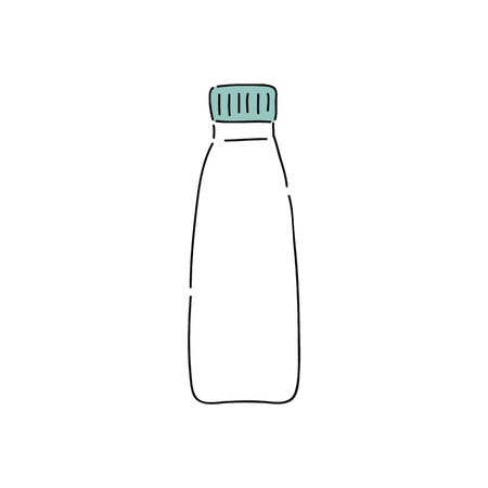 White plastic yogurt bottle, doodle drawing of blank dairy liquid packaging with green cap. Healthy beverage for diet, simple hand drawn icon, isolated vector illustration on white background.