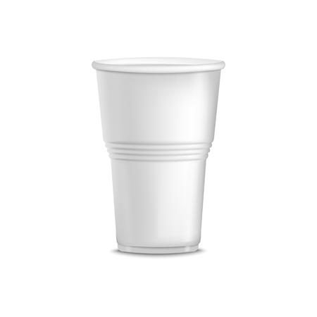 White plastic cup with ridges isolated on white background. Blank empty beverage container for coffee or other drink, disposable takeout object - realistic 3d vector illustration. Illusztráció