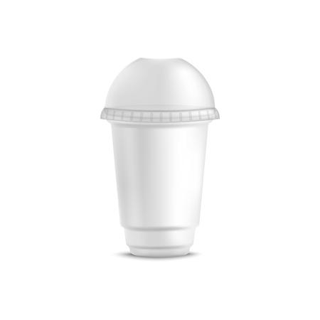 Vaso de plástico blanco desechable para bebida fría con tapa de cúpula redonda. Jugo en blanco vacío, batido, taza de café con tapa de esfera para maqueta o plantilla - ilustración de vector aislado sobre fondo blanco.