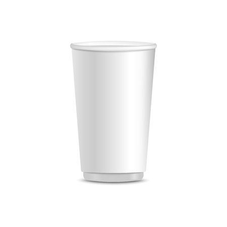 White paper cup, realistic isolated mockup for disposable hot beverage container. Blank template for branding, vector illustration Zdjęcie Seryjne - 120920395