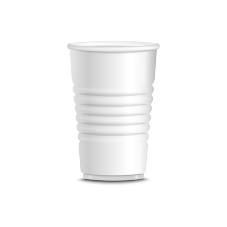 Isolated white plastic cup vector illustration. Plain hot and cold drink container with ridges used for coffee, tea, juice, lemonade - realistic mockup on white background. 일러스트